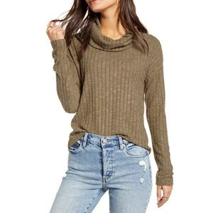 BP olive green ribbed cowl neck NWT